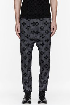ANN DEMEULEMEESTER Grey tweed jacquard flocked trousers