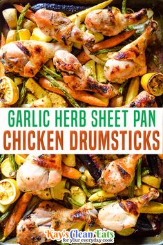 Garlic Herb Sheet Pan Chicken Drumsticks is an easy and healthy dinner the whole family can enjoy. Made with simple wholesome ingredients and baked on one pan this is also an easy cleanup! If you have trouble finding fresh rosemary springs you can use dried rosemary however fresh is always best. Also if you have chicken thighs on hand you can use those in place of chicken drumsticks... | Kay's Clean Eats @kayscleaneats #sheetpanchickenreipes #fallsheetpanrecipes #kayscleaneats