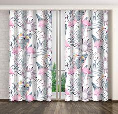Dlouhé závěsy s pestrým vzorem plameňáků Curtains, Shower, Prints, Rain Shower Heads, Blinds, Showers, Draping, Picture Window Treatments, Window Treatments