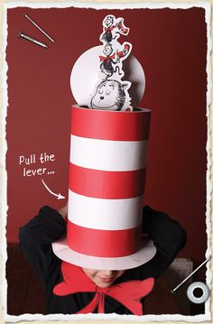 A pop-up 'Cat in the Hat' costume (perfect for school dress-up days) - choose between a manual version, or the 'remote release spring-loaded' version!