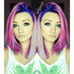 beautiful pink blue ombre hair