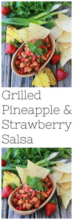 Grilled Pineapple Strawberry Salsa is a fabulous new spin on fresh salsa! Be sure to make a double batch because it'll be gone in seconds! Grilled Pineapple Strawberry Salsa is to die for! Easy Salad Recipes, Healthy Eating Recipes, Grill Recipes, Sweets Recipes, Dip Recipes, Healthy Food, Grilled Fruit, Grilled Vegetables, Best Appetizers