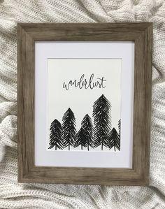Wanderlust Print, Wanderlust Treescape, Art, Minimalist Art, Hand-lettering, Caligraphy by WoodwayWorkings on Etsy