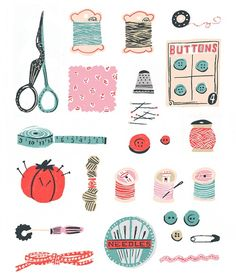 Pins & Needles, sewing, illustration, by Danielle Kroll, organisation, collection, drawing, colour, craft