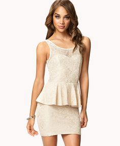 Lace Peplum Dress ~Forever 21 $19.80 http://www.forever21.com/Product/Product.aspx?BR=f21=dress=2041948511=