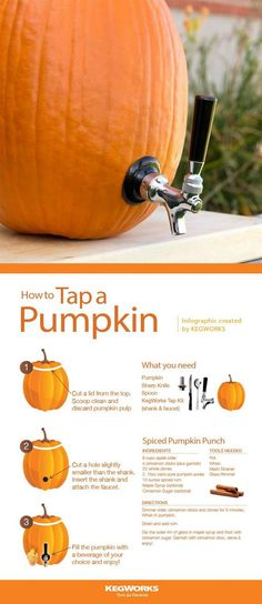 With simple equipment any ordinary pumpkin will do. 🎃 You can serve the beer, cider, or cocktail of your choice from a pumpkin keg. Perfect for Halloween, a fall party, or tailgating! Halloween Cocktails, Halloween Snacks, Halloween Cupcakes, Buffet Halloween, Halloween Tags, Halloween Bebes, Hallowen Food, Looks Halloween, Holidays Halloween