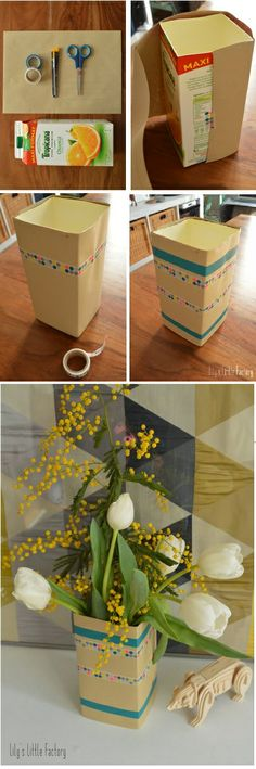 1 brique de jus d'orange + 1 enveloppe kraft + du masking tape = Un vase déco en 5 mn chrono by lily's little factory