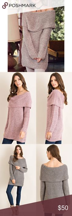 Off Shoulder Sweater Top Off shoulder sweater top. Available is pink, charcoal and olive. This listing is for the PINK. Brand new. True to size. NO TRADES. PRICE FIRM. Bare Anthology Sweaters Cowl & Turtlenecks