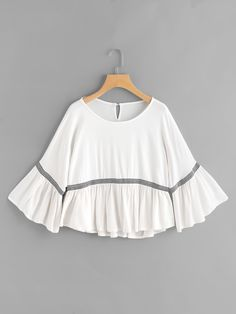 Shop Fluted Sleeve Embroidered Tape Detail Frill Top online. SheIn offers Fluted Sleeve Embroidered Tape Detail Frill Top & more to fit your fashionable needs.