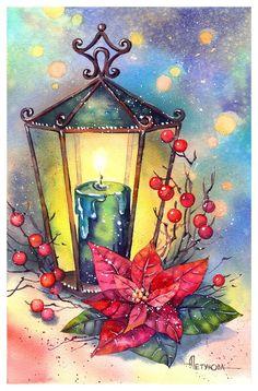 Christmas Scenes, Noel Christmas, Vintage Christmas Cards, Christmas Pictures, Xmas Cards, Christmas Crafts, Watercolor Christmas Cards, Christmas Drawing, Christmas Paintings