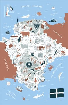 Devon Map by Stuart Hill Illustration on Behance Devon England, Oxford England, Cornwall England, Yorkshire England, Yorkshire Dales, London England, Devonshire England, Exeter England, Devon Map