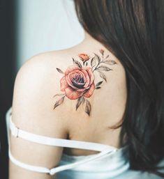 50+ Shoulder Tattoo For Woman:Red Rose Shoulder Tattoo