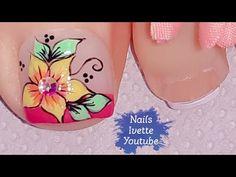 Decoración de uñas PIE flor básica amarilla con pétalos en punta - YouTube Pretty Toe Nails, Pretty Toes, Toe Nail Art, Pedicure, Videos, Youtube, Toenails, Nail Arts, Designed Nails