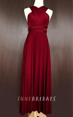 415760ec456 Maxi Wine Red Bridesmaid Prom Wedding Infinity Convertible Wrap Multiway  Cocktail Maxi Dress - June Bridals
