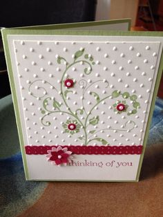Thinking Of You Stampin' Up card made to order FREE by bduwe Diy Christmas Cards, Handmade Christmas, Christmas Images, Winter Christmas, Stamping Up Cards, Rubber Stamping, Embossed Cards, Get Well Cards, Card Patterns