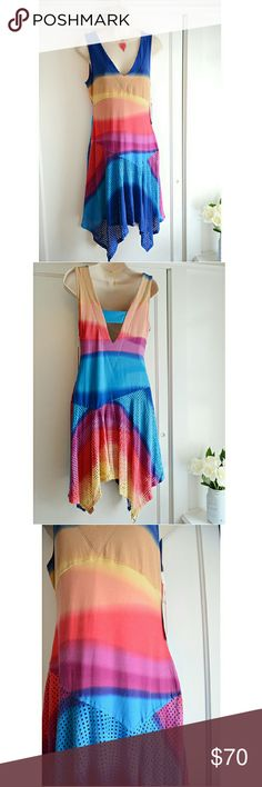 """Plenty/Tracy Reese Sunset Ombre Asymmetrical Dress This is so unique!! Absolutely gorgeous, this is made of 58% cotton, 38% rayon, 4% spandex, & is fully lined (lining is 90% nylon /10% spandex). It's new & never been worn, however there are two teensy, correctable flaws I've noted in the 4th pic (price reflects this):  2 tiny (1/4"""") spots where the thread needs tightening, & there is a microscopic pull (no tear, no danger of tear) that I caught while scrutinizing the dress. Easy fixes…"""
