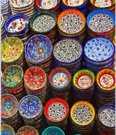 Hand-painted bowls found in the Grand Bazaar, Istanbul, Turkey