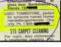 A used tombstone ad. Genius.