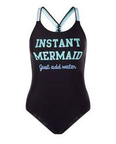 Maillot de bain ado noir à imprimé Instant Mermaid | New Look