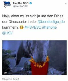 """""""Einer muss sich ja um den Erhalt der Dinosaurier in der Bundesliga kümmern"""". Hertha BSC nimmt die gestrige Niederlage beim HSV mit Humor   #bolzplatzhelden #hsvbsc #hertha #dinosaur #dino #bundesligadino  Quelle: https://twitter.com/herthabsc/status/838454667268993024"""