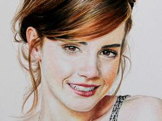 Emma Watson color pencil realistic portrait