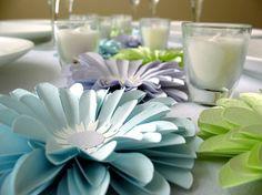 love it!  big paper flower centerpieces