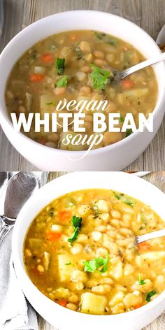 Vegan White Bean Soup recipe that is hearty, comfy and full of flavor. It is vegan, gluten-free and oil-free and perfect for those long winter months. dinner for kids Vegan White Bean Soup Vegan Dinner Recipes, Whole Food Recipes, Cooking Recipes, Healthy Recipes, Keto Recipes, Instapot Vegetarian Recipes, Easy Vegan Meals, Gluten Free Vegetarian Recipes, Easy Vegan Dinner