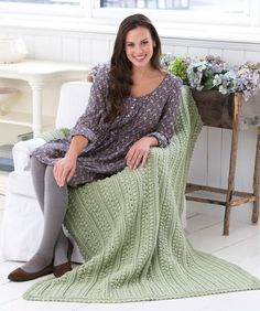 "Aran Isle Throw - Warm and with a wonderful textural quality, this Aran-style throw can be crocheted in the color that is best for your room. Made in just one-piece, so there will be very few ends to weave in. RHSS: 7 sks Frosty Green Crochet Hooks: J/10/6mm + I/9/5.5mm   Throw measures 48"" x 63""  free pdf"