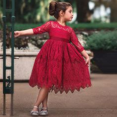 Buy Girls Christmas Flower Lace Embroidery Dress Kids Dresses for Girl Princess Autumn Winter Party Ball Gown Children Clothing Wear at Wish - Shopping Made Fun Girls Lace Dress, Lace Midi Dress, Little Girl Dresses, Girls Dresses, Dress Girl, Lace Dress For Kids, Tulle Lace, Half Sleeve Girl, Long Sleeve