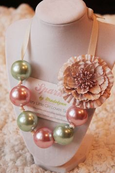 Pale Green and Pink Gumball Necklace with flower clip. $17.00, via Etsy.