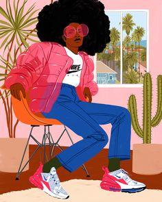 Bijou Karman Nike Airmax illustration (Los Angeles, CA) Black Girl Art, Black Women Art, Black Art, Art Girl, Art Women, Woman Illustration, Graphic Illustration, Fashion Illustration Men, Forest Illustration