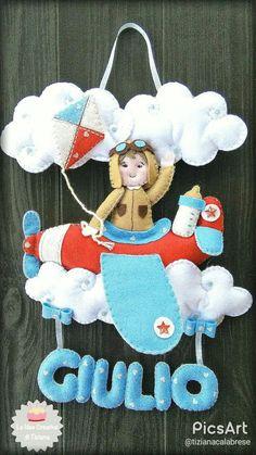 Fiocco nascita, piccolo aviatore in pannolenci : Altro bebè di le-idee-creative-di-tiziana