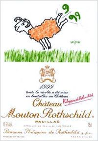 1999 Chateau Mouton-Rothschild label by Raymond Savignac. / With a wink and a kick of his heels, the ram, the Mouton totem, invites us to the pleasure of wine-drinking and briskly dismisses the closing millennium. Marc Chagall, Salvador Dali, Andy Warhol, Haut Medoc, Mouton Rothschild, Wine Label Design, Expensive Wine, Wine Case, Cheap Wine