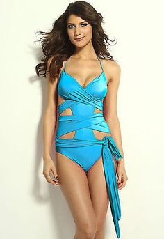 Blue Wrap-around One-piece Swimwear LC40944 new 2015 fashion beach summer women