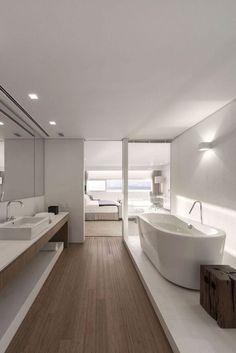 Urca by studio arthur casas // bold empire house salle de bains couloir, gr Minimalist Bathroom Design, Bathroom Design Luxury, Modern Bedroom Design, Luxury Interior Design, Modern House Design, Luxury Bathrooms, Modern Bathrooms, Minimalist Bedroom, Modern Minimalist