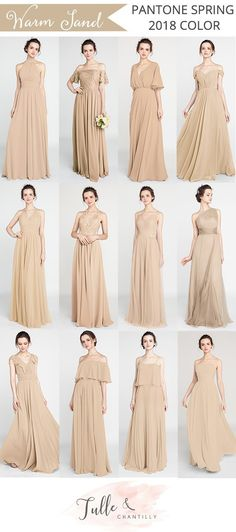 pantone 2018 spring color warm sand bridesmaid dresses2 #bridalparty #weddingcolors #bridesmaiddress