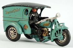 Rare 11in Hubley 'Say It With Flowers' Indian motorcycle toy, cast iron, American. Est. $20,000-$30,000.