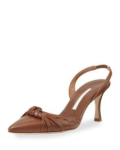 Manolo Blahnik Lazine Knotted Leather Halter Pump