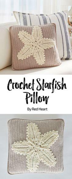 Crochet Starfish Pillow By Nancy Anderson - Free Crochet Pattern - (redheart) Crochet Pillow Patterns Free, Crochet Flower Patterns, Crochet Flowers, Crochet Pillow Covers, Crochet Ideas, Crochet Projects, Free Pattern, Crochet Home, Crochet Gifts