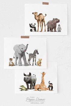 Not your average baby animal art! These modern groupings of safari animal art prints are perfect for a jungle themed baby room. Explore the complete collection from Paper Llamas. Safari Nursery Art - set of 3 Prints Paper Llamas PaperLlamasArt Wo Safari Nursery, Animal Nursery, Nursery Art, Nursery Prints, Nursery Ideas, Room Ideas, Jungle Animals, Baby Animals, Baby Room Neutral