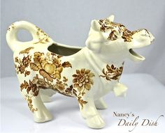RARE Vintage English Brown Transferware Laughing Cow Bull Creamer Pitcher Charlotte