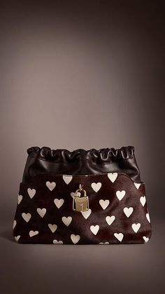 The Little Crush in Heart Print Calfskin and Leather in Oxblood   Burberry