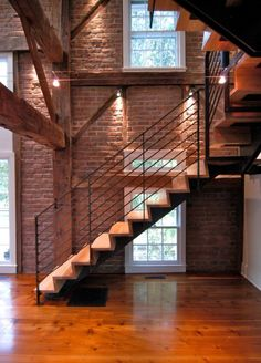 Home Design, Bamboo Home Interior Flooring Design Idea Feat Contemporary Floating Stairs With Metal Railing Plus Exposed Brick Wall: Make a Gorgeous House with Floating Stairs