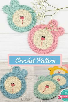 these little easter bunny crochet doilies are just as cute as a button! can't get over it and the colors are perfect for spring--oh and can also be used as coasters instead how pretty #crocheteaster #eastercrochet #eastercrochetpatterns #crocheteasterpatterns #crochetdoily #doily #crochetdoilypattern #doilies #crochetcoasters #affiliate #coasters