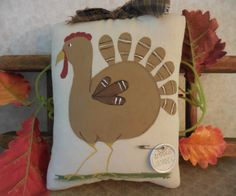Primitive Thanksgiving Turkey Wall Hanging Pillow Tuck Whimsical Home Decor by auntiemeowsprims on Etsy