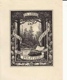 Confessions of a Bookplate Junkie  --  Bookplate for the American publisher Ralph Pulitzer and his first wife Frederica.