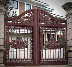 A gate or gateway is a point of entry to space which is enclosed by walls. Gates may prevent or control the entry or exit of individuals, or they may be Front Gate Design, Main Gate Design, Door Gate Design, Wooden Door Design, House Balcony Design, House Design, Modern Iron Gate Designs, Gate For Home, Different Types Of Houses