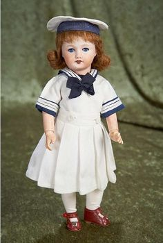 "French Bisque Doll  —  11""   Bisque Socket Head 'Bleuette' genre  71   in Original Costume, 1925   (538x800)"