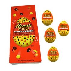 There are 21 wrapped eggs per box. Reese's Chocolate egg filled with Reese's Pieces. American Peanut Butter, Reese's Chocolate, Hershey Miniatures, Reese's Pieces, Broken Egg, Candy Companies, Jolly Rancher, Reeses Peanut Butter, Easter Candy