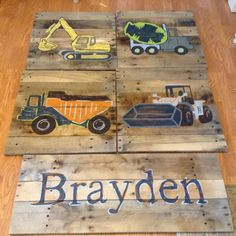 5 piece Construction Set,4 20x20 squares, 1. 34x15 Rectangle, Name Sign, Construction Theme,rustic wall decor, Painted by hand on reclaimed wood Or Choose Any Paintings that are in the shop to build your own 5 Piece Set. 4 - 20x20s and a 1 name sign
